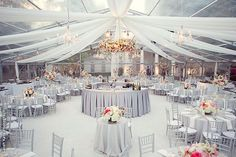 6 Dallas Wedding Venues For An Event That's Uniquely You! // Draped and Tented Silver Wedding Reception at Arlington Hall at Lee Park