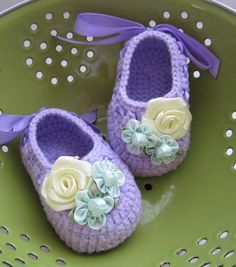 Ribbon Flowery Crochet Baby Booties  4 Sizes  Ready ♥ by MyMayaMade