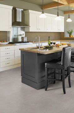 Gerflor's new Housing Collection pushing technical/aesthetical boundaries providing fresh solutions for housing projects Small Space Kitchen, Kitchen On A Budget, Diy Kitchen, Small Spaces, Grey Flooring, Kitchen Flooring, Flooring Ideas, Farm Sink, Grey Kitchens