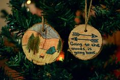 Going to the wood is going home. DIY wood Christmas ornaments