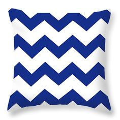"""#Blue #Chevron Pattern 14"""" x 14"""" Throw #Pillow by Christina Rollo.  Our throw pillows are made from 100% cotton fabric and add a stylish statement to any room.  Pillows are available in sizes from 14"""" x 14"""" up to 26"""" x 26"""".  Each pillow is printed on both sides (same image) and includes a concealed zipper and removable insert (if selected) for easy cleaning."""