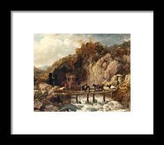 Paintings Framed Print featuring the painting Umberleigh Mill, River Taw, Devon by Thomas Sidney Cooper Painting Frames, Devon, Sydney, Framed Prints, Paintings, River, Art, Art Background, Paint