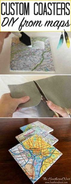 Make these SUPER easy and inexpensive DIY custom coasters from maps! And give them as a popular and meaningful hostess gift, housewarming gift, birthday or holiday gift! They are ALWAYS a hit! Easy to follow tutorial from http://heatherednest.com