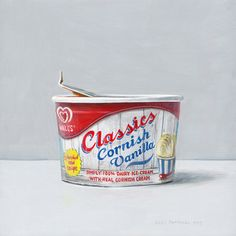 Joël Penkman Ice Cream: Tempera on panel: Still Life Drawing, Still Life Art, Joel Penkman, Food Painting, Watercolour Painting, Ice Cream Tubs, Alphabet Soup, Food Drawing, Cream Cream