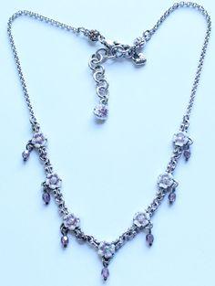 Nice BRIGHTON Signed Silver Tone Enamel Flower Necklace #Brighton #Statement