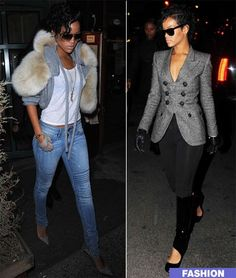 I would do things for those boots. Source:unknown #rihanna #fur vest #greyblazer #blackboots #jeans #gloves #style