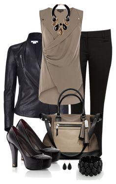 Beige top black jacket black pants black shoes trapeze black and beige bag Mode Outfits, Casual Outfits, Stylish Work Outfits, Stylish Eve, Fashionable Outfits, School Outfits, Winter Outfits, Work Fashion, Fashion Looks
