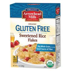 Organic brown rice is toasted into these crispy rice cereal flakes and lightly sweetened.  Enjoy Arrowhead Mills Rice Flakes Sweetened for a low fat, wheat free treat!