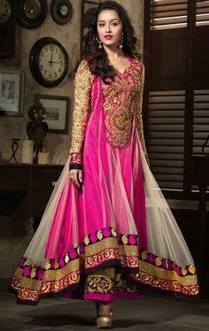 Pretty Pink and Cream Color Designer Anarkali Suit