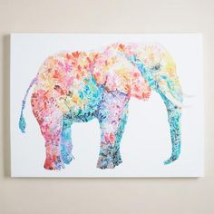 """Known for her colorful, whimsical work, Maria Varela is strongly influenced by the free-spirited designs of the 70s and uses uplifting vintage images, papers and lettering. """"Elephant Gum"""" is an equally bohemian and playful piece that embodies her wild style, featuring raised, hand-painted embellishment for added texture."""