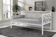 Metal Daybed Frame White Bedroom Dorm Sofa Bed Furniture Beds Durable  | eBay