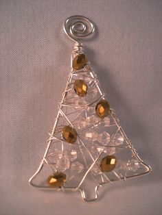 Beaded wire tree ornament