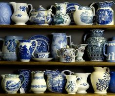 Blue and white pitchers. I love pitchers!! Repin from missionroadantiquemall.com