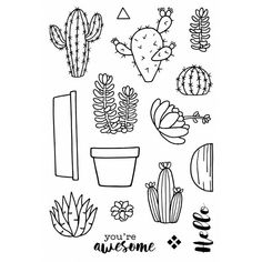 Jane's Doodles Clear Stamps Cactus 4inx6in. These easy to use stamps give a perfect look to any crafting project! This package contains sixteen clear stamps in a variety of designs on a 6x4 inch backing sheet. Made in USA. Jane's Doodles 742774