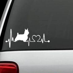 """Is your Westie the love of your life? Handmade in the USA decal for Car, Van, SUV and Truck! Decal measures 7"""" wide x 4"""" tall The sticker is a single color, and does not have a background. It is made"""