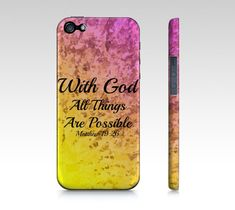 With God All Things are Possible- Choose iPhone 4 4S 5 5S 5C Hard Case Pink Red Yellow Purple Orange Ombre Abstract Scripture Biblical Verse