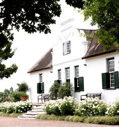 cape dutch gardens - l South African Homes, African House, Dutch Colonial, Spanish Colonial, Beautiful Architecture, Architecture Design, Dutch Gardens, Cape Dutch, Dutch House
