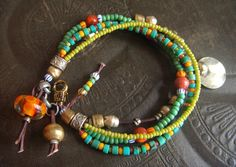 Turquoise Glass and African Beaded Bracelet by YuccaBloom on Etsy