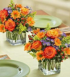 Autumn Celebration™ - mix of bi-color orange roses, bronze daisies, purple monte casino and more, it's available on its own or as a set of two or three #centerpieces.