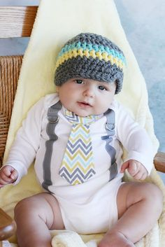 Baby Boy Tie Onesie or Shirt with Suspenders and matching hat  - Size nb to 12 yrs - Pick your own - Chevron Polka Dot. $36.00, via Etsy.