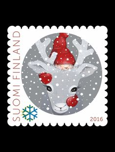 Joulupostimerkki 2016 - Christmas postage stamp 2016 Finland Christmas Mail, Vintage Christmas Cards, Christmas Images, Nouvel An, Pretty Cards, Mail Art, Stamp Collecting, My Stamp, Illustrations