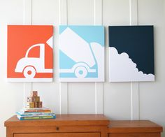 Loving the picture over three frames, three colours. Would be great for the boy child who seems to think he wants a room decorated with garbage truck theme... @@ boys