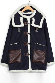 PU Paneled Hooded Coat OASAP.com