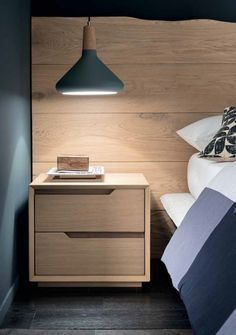 Bedside table in solid wood with two drawers Fast produced by Altacorte. made in Italy together with the charm of solid wood make this product an exclusive furnishing item Drawer Design, Cupboard Design, Bedroom Bed Design, Bedroom Decor, Master Bedroom, Bedroom Sets, Modern Bedroom, Wood Drawers, Bedside Drawers