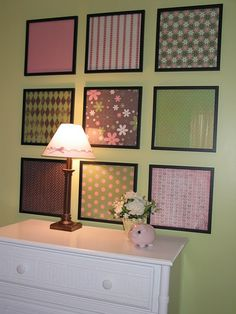 "Girls Room - like this idea to ""fancy up"" walls of a single colour. Would use if there was no feature wall. Wall Groupings using Scrapbook Paper"