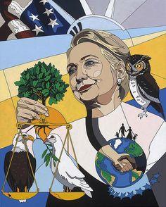 Hillary Clinton painting by Konni Jensen www.konnijensen.com #art #painting #Hillary Clinton #Konnijensen