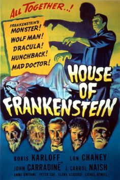 House of Frankenstein 1944 Movie Poster Mini Poster Style D. Available here: http://www.classichorrorposters.com/shop/11x17-inch-mini-posters/house-of-frankenstein-1944-movie-poster-mini-poster-style-d/