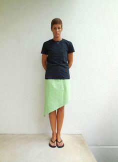 Lime Green T-Shirt Skirt Women's Skirt Recycled Tee Skirt by ohzie