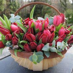 Tulips Flowers, Pretty Flowers, Fresh Flowers, Spring Flowers, Red Tulips, Beautiful Flower Arrangements, Floral Arrangements, Flower Boxes, My Flower