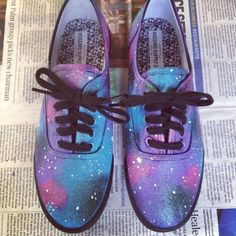Cotton Candy Galaxy Shoes ($35) ❤ liked on Polyvore featuring shoes, galaxy shoes, planet shoes, cotton shoes, cosmic shoes and galaxy print shoes