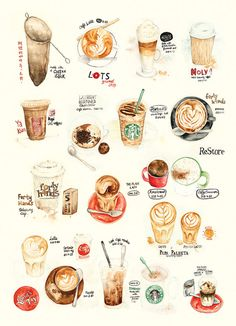 Watercolor Illustration  Coffee Collection Print by thelilyx