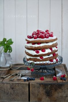 Raspberry, yogurt and chocolate sponge layer cake