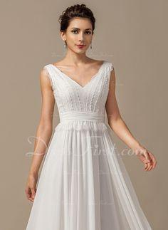 Vestidos princesa/ Formato A Decote V Longos De chiffon Vestido de noiva com Curvado Babados em cascata (002068150)