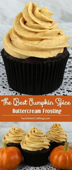 The Best Pumpkin Spice Buttercream Frosting - Sweet, creamy, pumpkin-y, spicy and delicious. This pumpkin frosting is a great choice for any Fall cake or cupcake! This is a traditional homemade butter cream frosting that your friends and family will rave Fall Desserts, Just Desserts, Delicious Desserts, Dessert Recipes, Homemade Cupcake Recipes, Health Desserts, Healthy Cupcake Recipes, Spice Cake Recipes, Gourmet Desserts