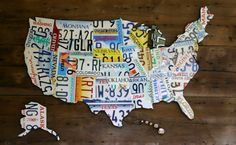 LICENSE PLATE MAP of United States large by thewoodenhinge on Etsy, $800.00