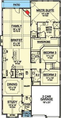 1000 ideas about narrow house plans on pinterest small for Narrow lot one story house plans