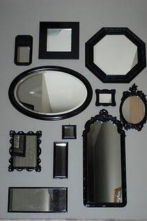 Rainy Side of Paradise: Copycat Wall of Mirrors Dream Bedroom, Home Bedroom, Master Bedroom, Bedroom Ideas, Bedrooms, Old Mirrors, Vintage Mirrors, Black Mirror, Mirror Mirror
