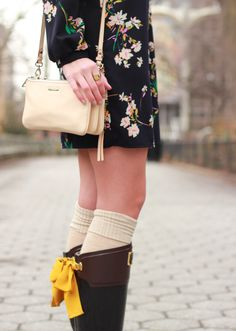 The Steele Maiden: Joules Evedon Rainboot and Floral Shift Dress