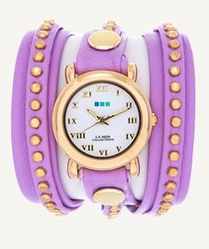 "http://www.lamercollections.com/shop/Lavender-Gold-Bali/  Extra-long soft Lavender leather strap topped with a second 1/4"" layer of Small Gold Studded leather. Wipe clean. 22"" long, 5"" wide strap and .25"" top layer on strap. La Mer Collections' Gold Plated Circle Watch Case, .875"" wide watch case, Japanese movement, buckle closure. Nickel Free. Due to the handcrafted nature of this product, each watch may vary slightly.  Made in the USA."
