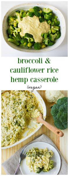 This vegan broccoli and cauliflower rice hemp casserole is the perfect vegan-friendly twist on a traditional holiday classic side dish. (ad) can be adapted to keto by substituting flour for almond flour Vegan Keto Recipes, Vegetarian Keto, Vegan Foods, Healthy Recipes, Paleo Vegan, Chili Recipes, Hemp Recipe, Vegan Casserole, Broccoli Casserole