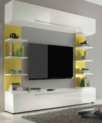 Détails Composition TV design PRIMERA GIALLO blanc brillant et jaune