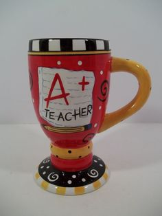 "Teacher Gift  ""A+ TEACHER"" 14 oz Pedestal Mug or Pencil Holder!  6 1/4"" Tall #GANZ"