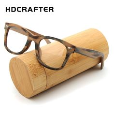 fa95068cc94 HDCRAFTER Prescription Glasses Frame Retro Wooden Plain Myopia Glasses with  Clear Lens Wood Square Eyeglasses Frames Eyewear