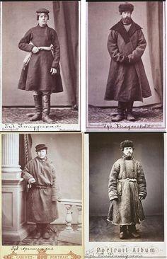 Русский народный мужской костюм на дореволюционных фотографиях: картузы, сюртуки, кафтаны, поддевки, армяки и пр. Снимки примерно 1875 - 1878 гг.