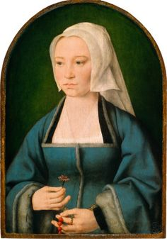 Margaretha Boghe, Wife of Joris Vezeleer, probably 1518. Joos van Cleve artist. Zoomable image at link.
