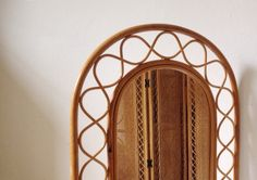 1970's bamboo mirror, bohemian arch shaped vintage bamboo mirror by VelvetEra on Etsy